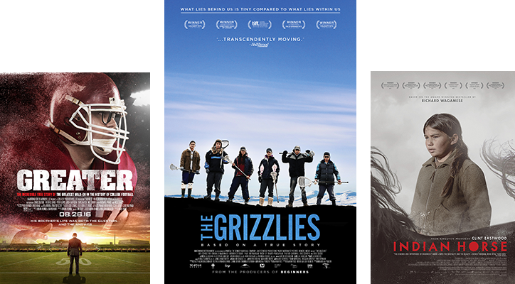Posters for Greater movie / The Grizzlies movie / Indian Horse movie